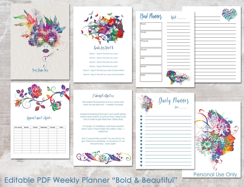 bold  u0026 beautiful editable daily weekly planner pdf 8 5 x